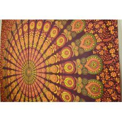 Narzuta bawełniana - duża mandala - wiśnia
