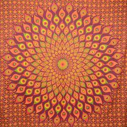 Narzuta bawełniana - mandala - wiśniowe pióra