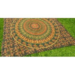 Narzuta bawełniana - mandala - procesja - zieleń