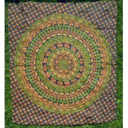 Narzuta bawełniana - słonie i wielbłądy - sosnowa zieleń