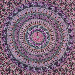 Narzuta bawełniana - mandala - procesja - fiolet