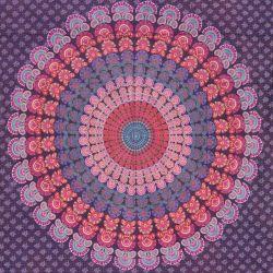 Narzuta bawełniana - fioletowa mandala