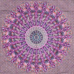 Narzuta bawełniana - mandala z Rajasthanu - fiolet
