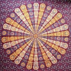 Narzuta bawełniana - wietrzna mandala - wiśnia
