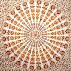 Narzuta bawełniana - biała mandala - rudy