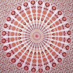 Narzuta bawełniana - biała mandala - czerwony