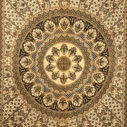 Narzuta bawełniana - mandala z rozetą - khaki