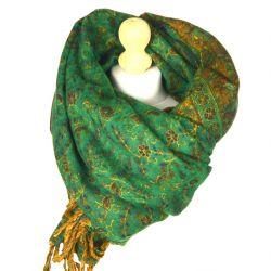 Szal nepalski - paisley - zieleń z brązem