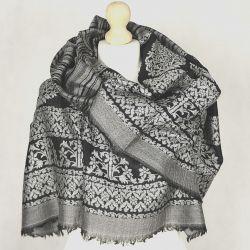 Szal indyjski - pashmina - czarne pasy