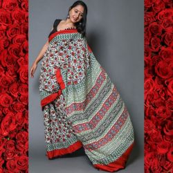 Sari bawełniane - czerwone kwiatki