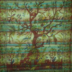 Narzuta - makata ręcznie tkana - zielone drzewo życia