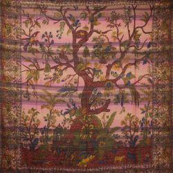 Narzuta - makata ręcznie tkana - różowe drzewo życia