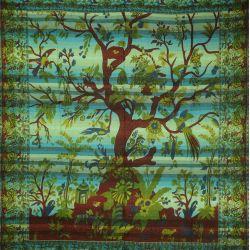 Narzuta - makata ręcznie tkana - niebieskie drzewo życia
