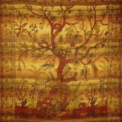 Narzuta - makata ręcznie tkana - żółte drzewo życia