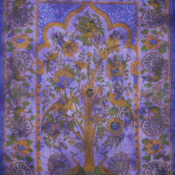 Obrus - makata - pawie - fiolet z brązem