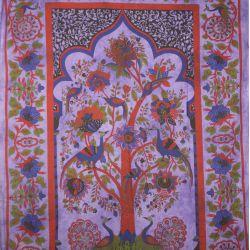 Obrus - makata - pawie - fiolet z bordo