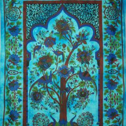 Obrus - makata - pawie - turkus