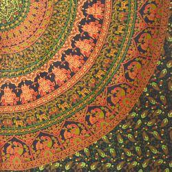Narzuta bawełniana - mandala z pawiami - zieleń