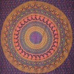 Narzuta bawełniana - mandala z pawiami - fiolet