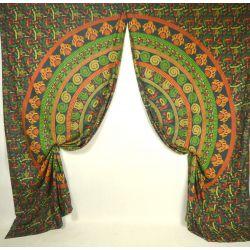 Komplet zasłon - mandala - zielone ethno - 2 szt.