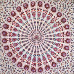 Narzuta bawełniana - biała mandala z frędzlami - czerwień i granat