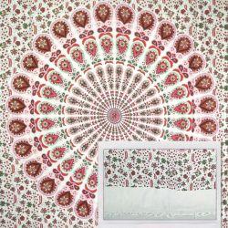Narzuta bawełniana - biała mandala z frędzlami - czerwień i zieleń