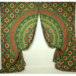 Komplet zasłon - mandala - zielone słonie - 2 szt.