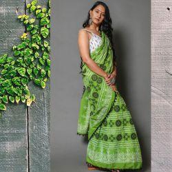 Sari bawełniane - młoda zieleń z mandalą