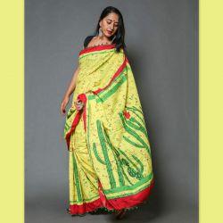 Sari bawełniane - żółte z kaktusami