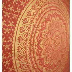 Narzuta bawełniana - prawdziwa mandala - czerwony ze złotem