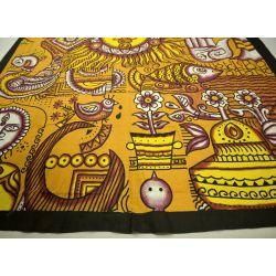 Narzuta bawełniana - tradycja Indii - ciemny żółty