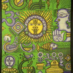 Narzuta bawełniana - tradycja Indii - żywa zieleń
