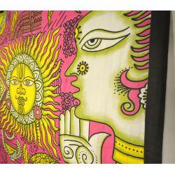 Narzuta bawełniana - tradycja Indii - różowy z żółtym