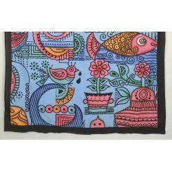 Obrus - makata - tradycja Indii - niebieski
