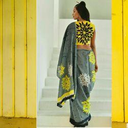 Sari bawełniane - kupon materiału - szary marmur
