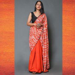 Sari bawełniane - kupon materiału - czerwony pomarańcz