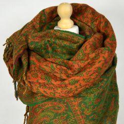 Szal nepalski - paisley - zieleń z dynią