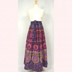 Spódnica indyjska  kopertowa - długa - fioletowa mandala