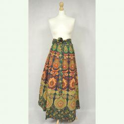 Spódnica indyjska  kopertowa - długa - zielona mandala