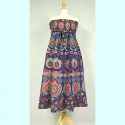 Spódnica indyjska  kopertowa - długa - granatowa mandala