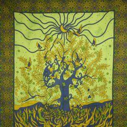 Narzuta bawełniana - zasłona - okno - jasna zieleń