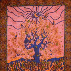 Narzuta bawełniana - zasłona - okno - malinowa czerwień