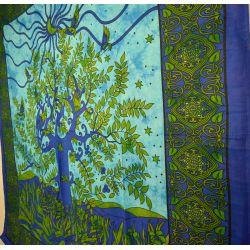 Narzuta bawełniana - zasłona - okno - błękitny turkus