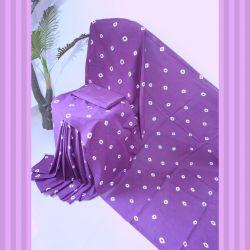 Sari bawełniane - kupon materiału - batikowe kropki - fiolet