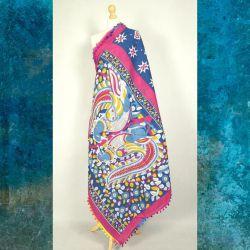 Sari bawełniane - kupon materiału - kolorowe ptaki