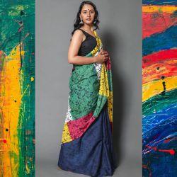 Sari bawełniane - kupon materiału - geometryczna impresja