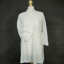 Tunika indyjska bawełniana - długa - z plisami ze stójką