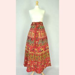 Spódnica indyjska  kopertowa - długa - czerwona z pawiami