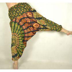Spodnie - bawełniane szarawary - zielona mandala