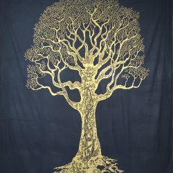 Narzuta bawełniana - mądre drzewo - granat ze złotem